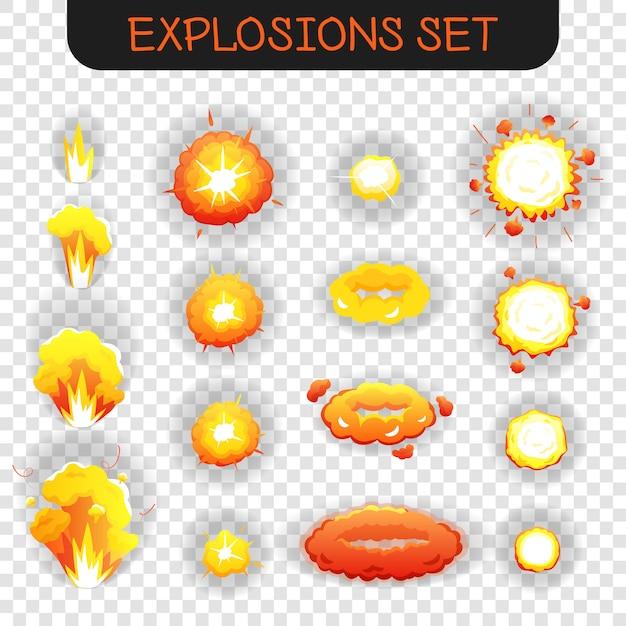 Cartoon explosie transparante set Gratis Vector