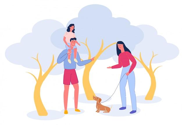 Cartoon familie wandeling in park met hond en kinderen. Premium Vector
