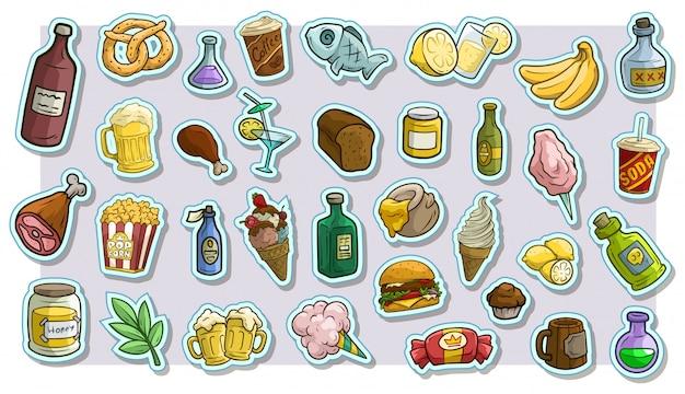 Cartoon fastfood en drankjes vector stickers Premium Vector