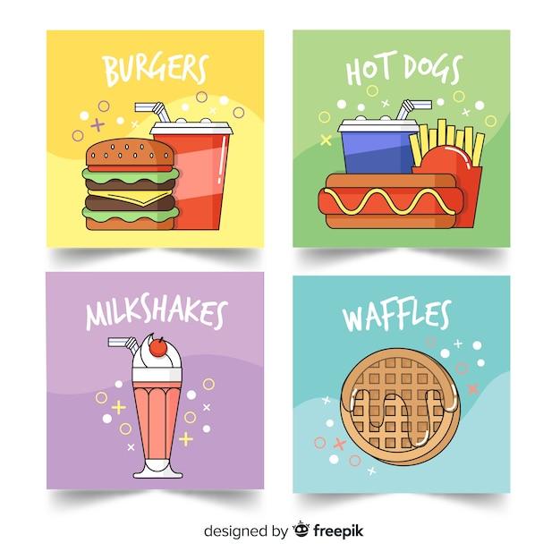 Cartoon fastfood-kaartenset Gratis Vector