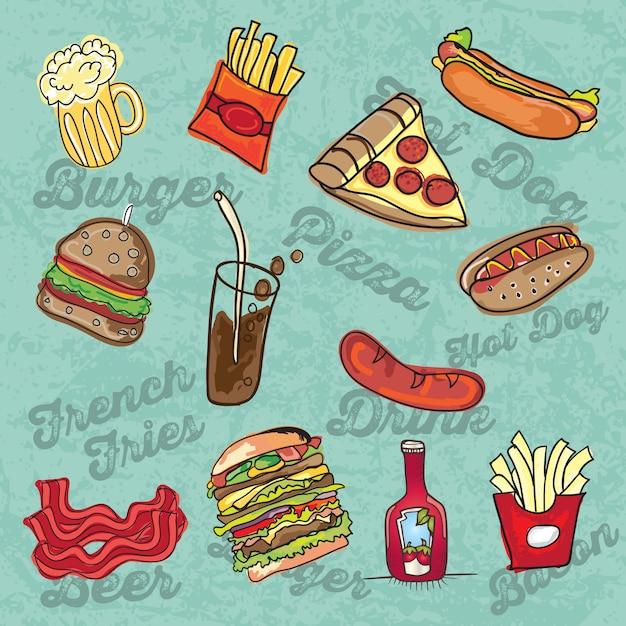 Cartoon fastfood pictogrammen op blauwe achtergrond vector illustratie Premium Vector