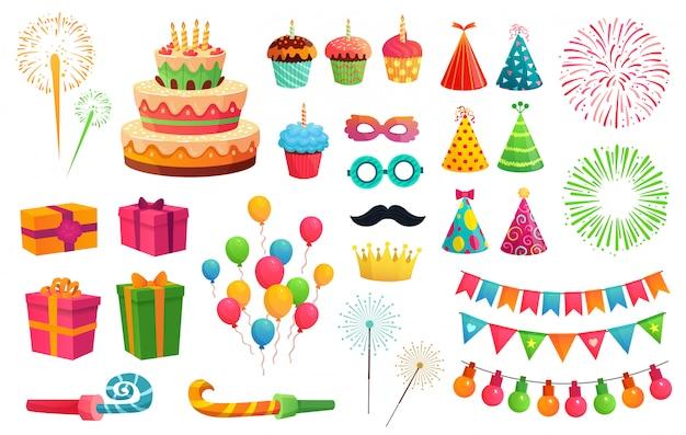 Cartoon feestpakket. raketvuurwerk, kleurrijke ballonnen en verjaardagscadeaus. carnaval-maskers en zoete cupcakes-illustratiereeks Premium Vector