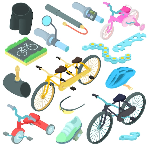 Cartoon fietsende pictogrammen instellen Premium Vector