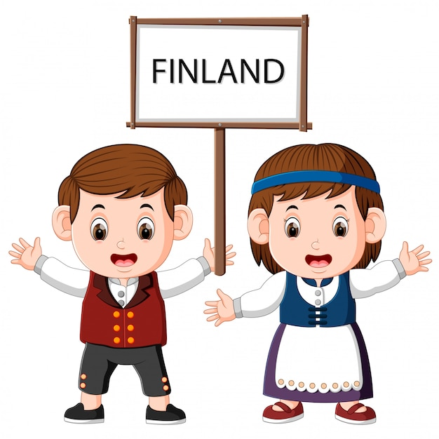 Cartoon finland paar dragen traditionele kostuums Premium Vector