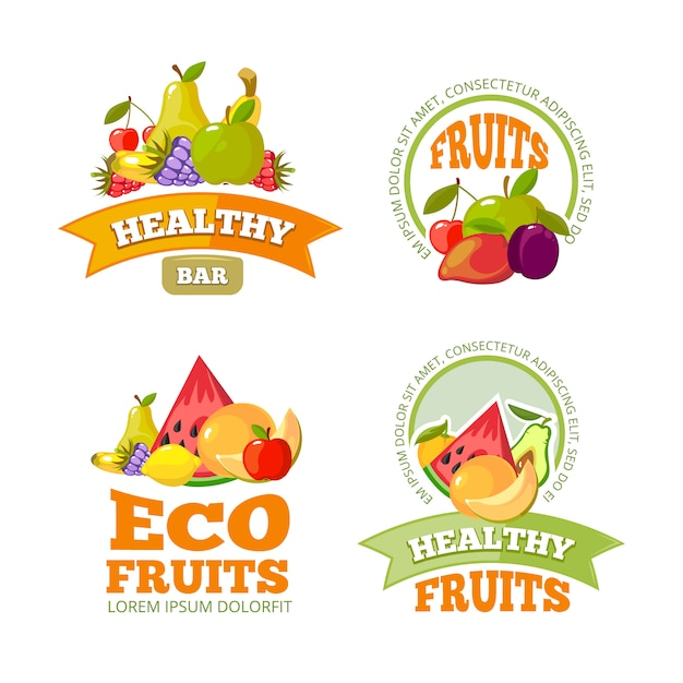Cartoon fruit etiketten. Premium Vector