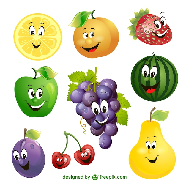 Cartoon fruit expressievector Gratis Vector