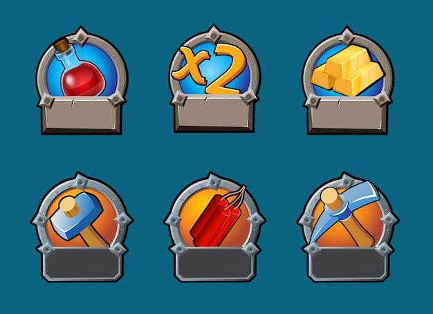 Cartoon game knoppen collectie Gratis Vector