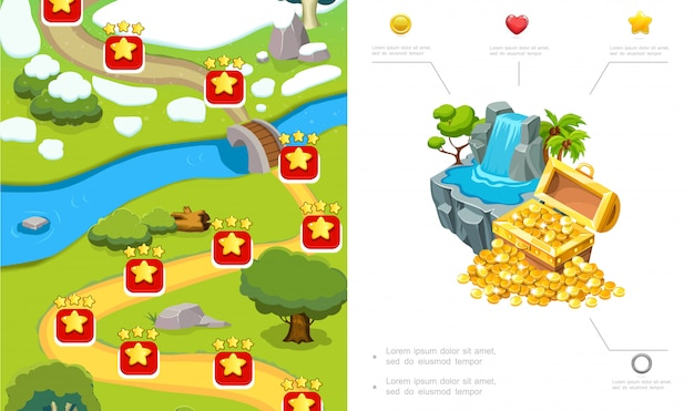 Cartoon game level ontwerp samenstelling met route bomen rivier stenen waterval schatkist van gouden munten Gratis Vector