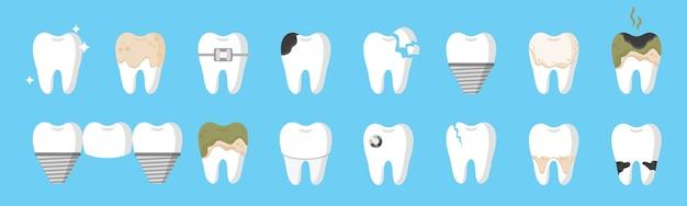 Cartoon gebit met verschillende soorten tandziekten: cariës, tandsteen, plaque, implantaat, tandbrug, orthodontische beugels enz. tandheelkundig concept. Premium Vector