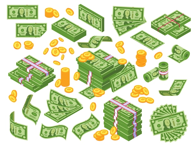 Cartoon geld. dollar gestapelde bankbiljetten en gouden munten Premium Vector