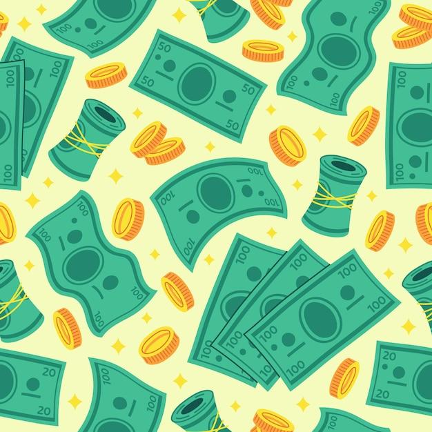 Cartoon geld dollar naadloze achtergrond vectorillustratie Premium Vector