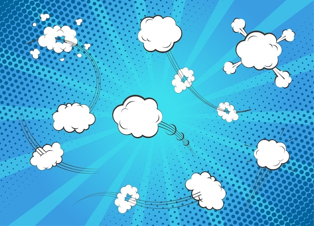 Cartoon geluidseffecten. set van lege witte zeepbel toespraak en gedachte. pop-art en versus komische bubbelsjabloon geïsoleerd op blue ray achtergrond. Premium Vector