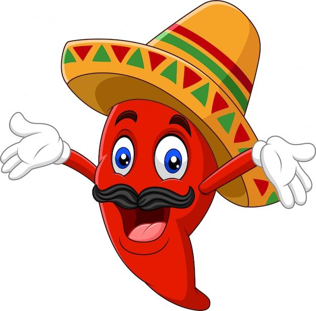 Cartoon gelukkig sombrero chili peper Premium Vector