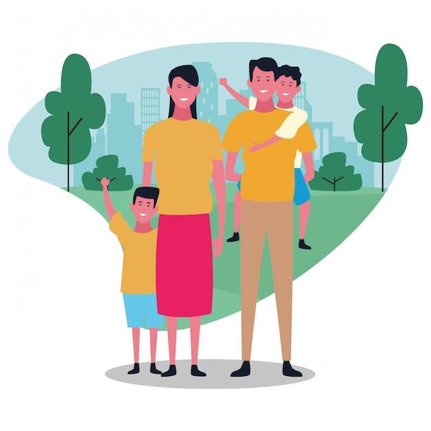 Cartoon gelukkige familie, kleurrijk ontwerp Premium Vector