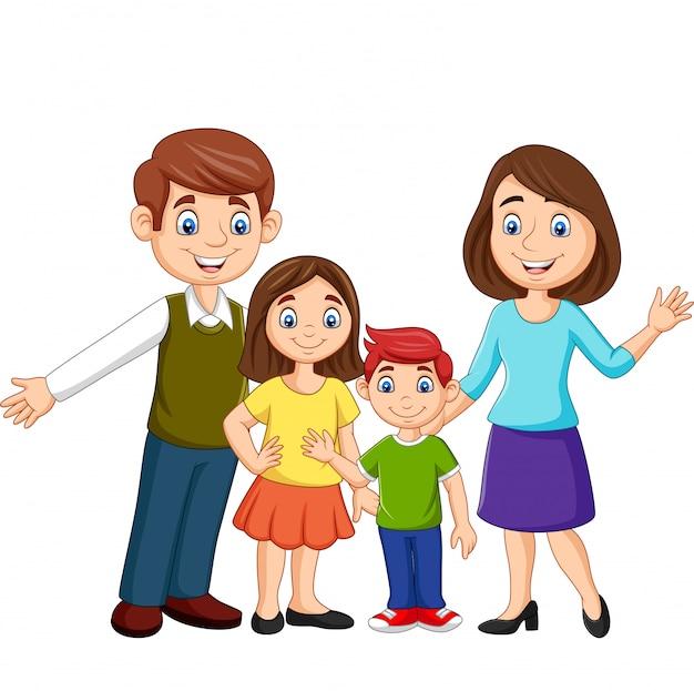 Cartoon gelukkige familie Premium Vector