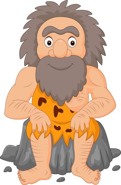 Cartoon gelukkige holbewoner zit Premium Vector