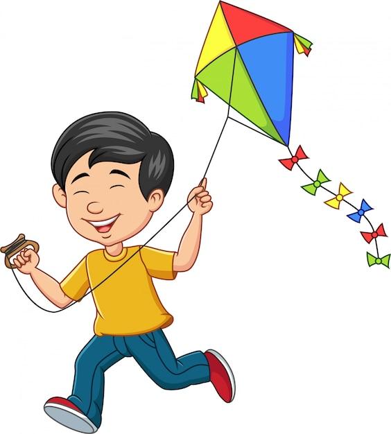 Cartoon gelukkige jongen vlieger spelen Premium Vector