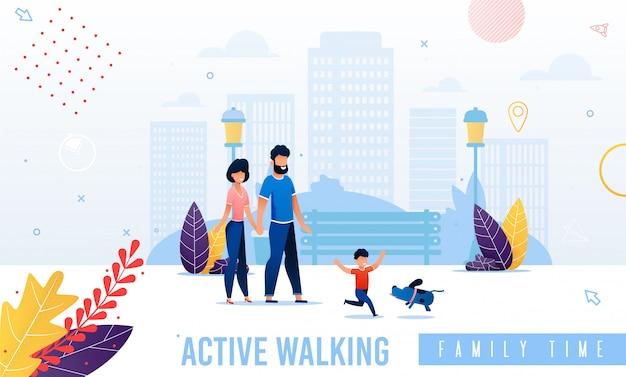 Cartoon gelukkige ouders en kind wandelen illustratie Premium Vector
