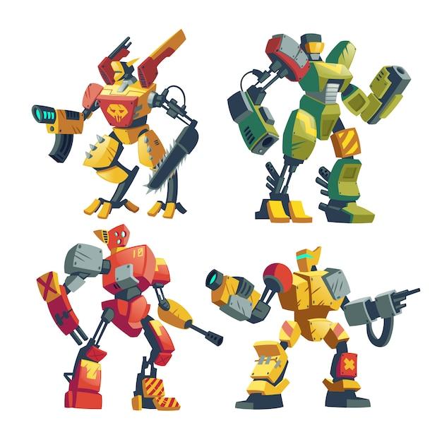 Cartoon gevechtsrobots. vecht tegen androïden met kunstmatige intelligentie in beschermende uitrusting Gratis Vector