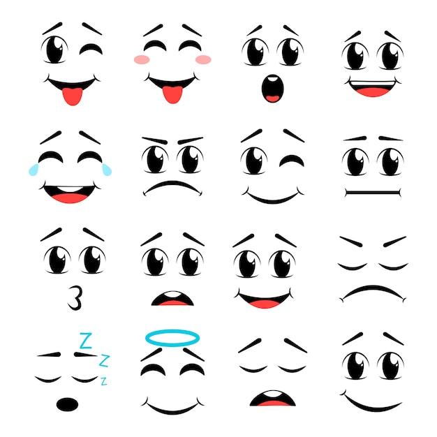 Cartoon gezicht icon set Premium Vector