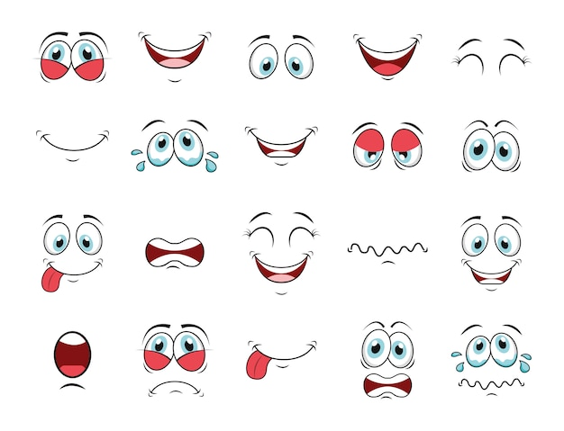 Cartoon gezicht icon set Gratis Vector