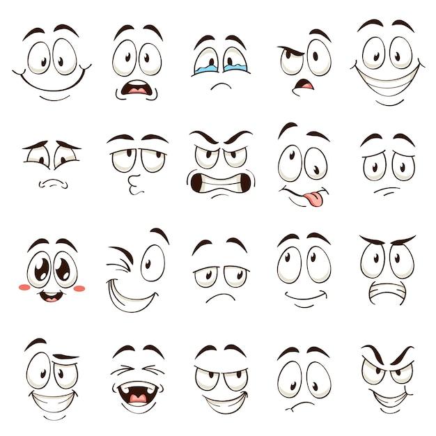 Cartoon gezichten. karikatuur komische emoties met verschillende uitdrukkingen. expressieve ogen en mond, grappige karakters, boze en verwarde emoticons ingesteld Premium Vector