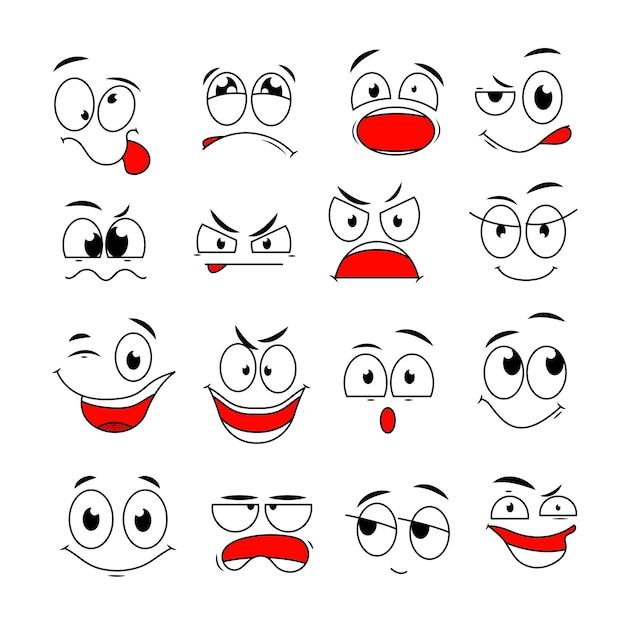 Cartoon gezichtsuitdrukking. grappige komische ogen en monden met blije, verdrietige en boze verrassingsemoties. doodle tekens instellen. illustratie gelukkige glimlach en boze droevige emotie Premium Vector