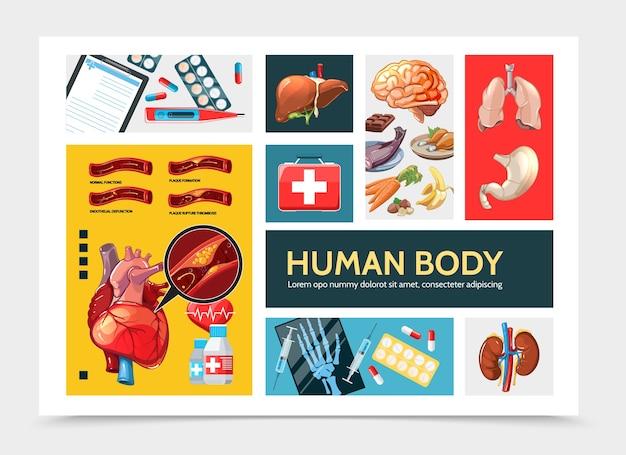 Cartoon gezondheidszorg infographic concept Gratis Vector