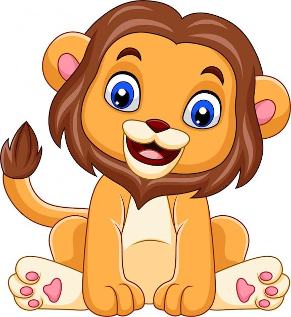 Cartoon grappige baby leeuw Premium Vector