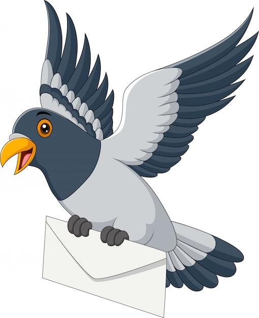 Cartoon grappige duif leveren brief Premium Vector
