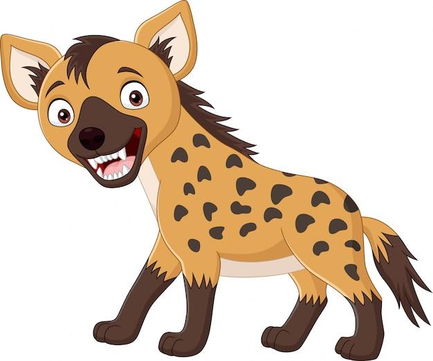 Cartoon grappige hyena geïsoleerd Premium Vector