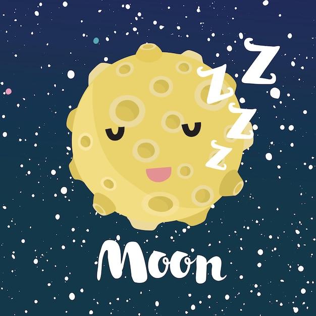 Cartoon grappige illustratie van sleeping moon met schattig lachend gezicht. ruimte nachtelijke hemel met sterren. Premium Vector