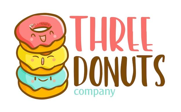 Cartoon grappige kawaii logo sjabloon voor 3 donuts winkel of bedrijf Premium Vector