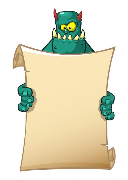 Cartoon grappige monster bedrijf blanco papier Premium Vector