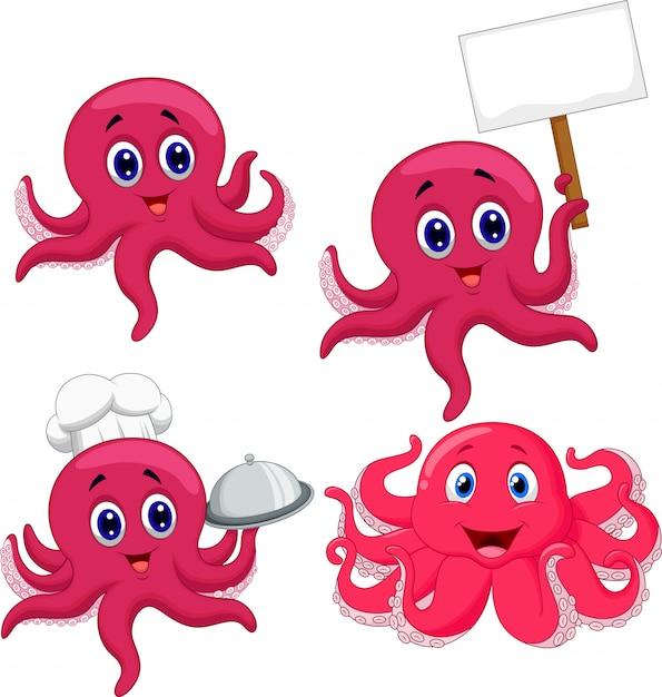 Cartoon grappige octopus collectie set Premium Vector
