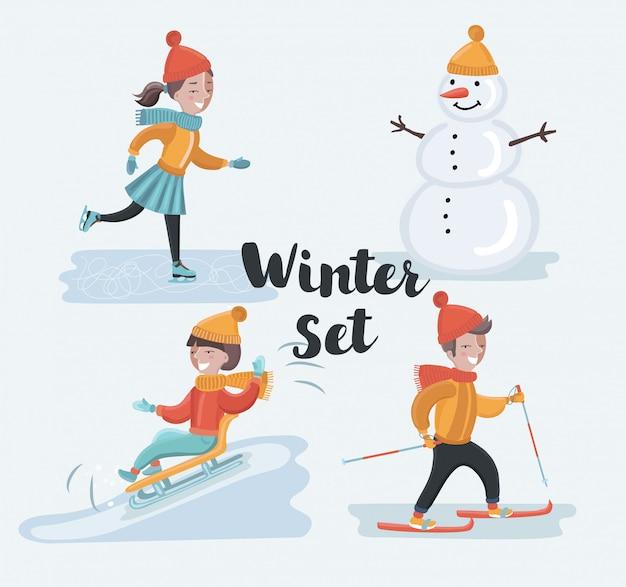 Cartoon grappige set scène illustraties van wintervakantie. skiën, schaatsend meisje, sneeuwman, rodelen. winter kinderen plezier op besneeuwde buitenlandschap. karakters op witte achtergrond Premium Vector
