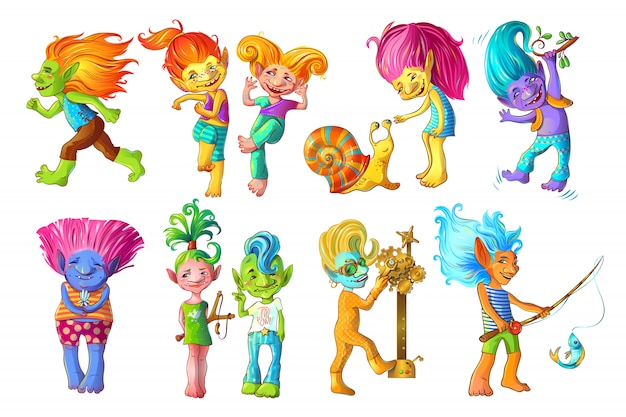 Cartoon grappige troll tekens instellen Gratis Vector