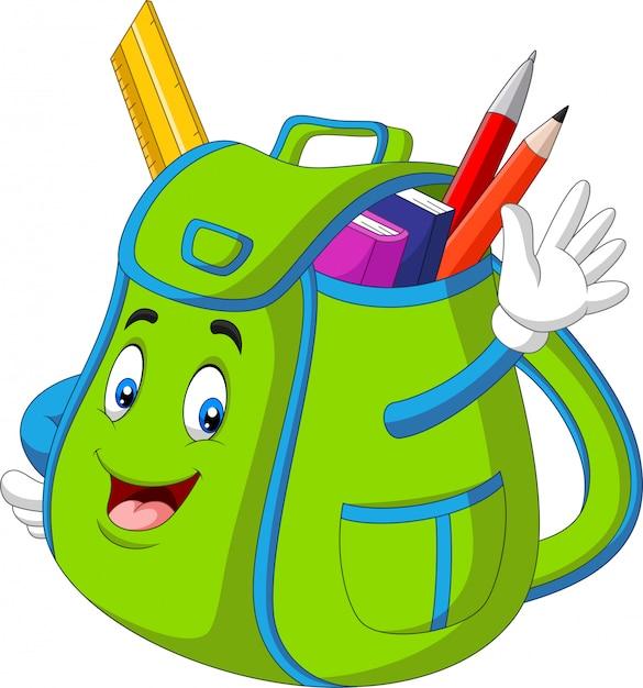 Cartoon groene school rugzak zwaaiende hand Premium Vector