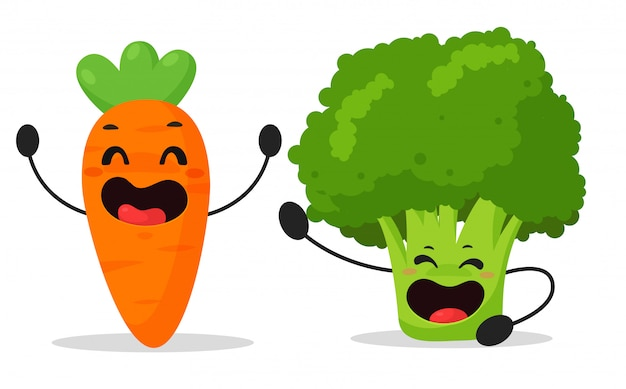 Cartoon groenten, wortelen en broccoli die genieten Premium Vector