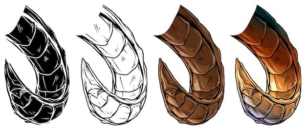 Cartoon grote scherpe daemon hoorns vector set Premium Vector