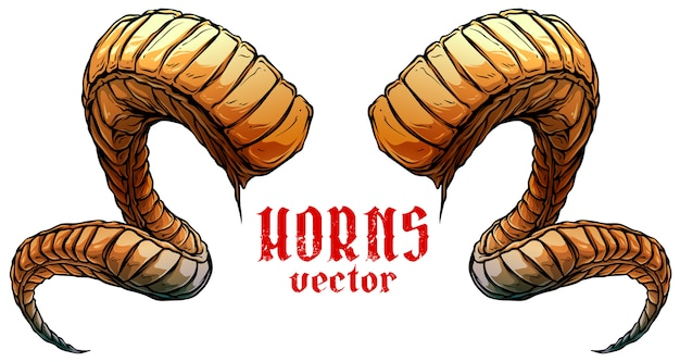 Cartoon grote scherpe spiraalvormige dierlijke hoorns vector Premium Vector