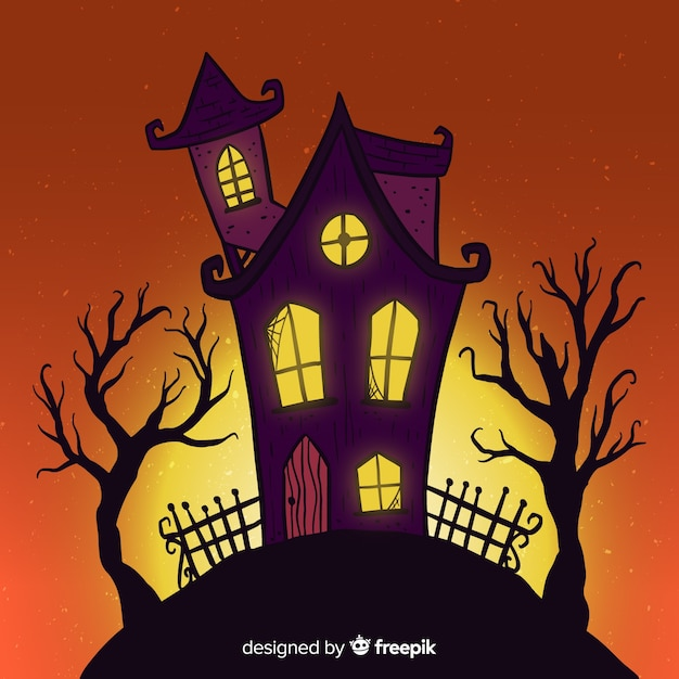 Cartoon halloween huis op een heuvel in de schemering Gratis Vector