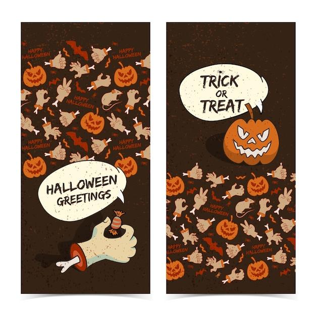 Cartoon halloween verticale banners met zombie arm griezelige pompoen Gratis Vector