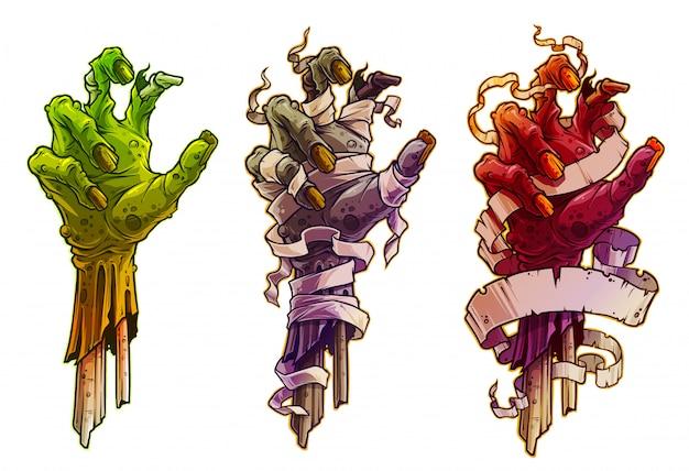 Cartoon halloween zombie handen met pleister Premium Vector