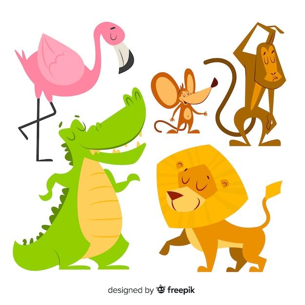 Cartoon hand getekende dierencollectie Gratis Vector