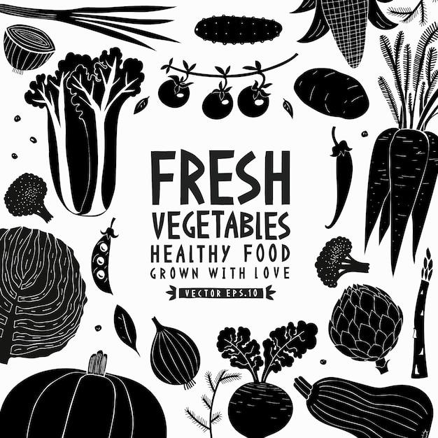 Cartoon hand getrokken groenten ontwerpsjabloon Premium Vector