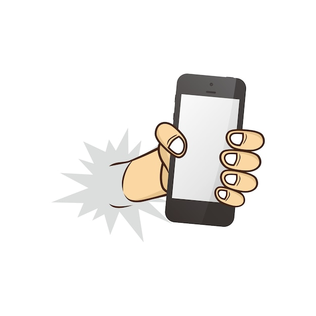 Cartoon hand met telefoon Premium Vector