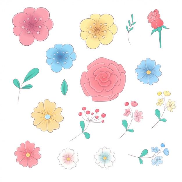 Cartoon hand tekenen set bloemen en bladeren Premium Vector