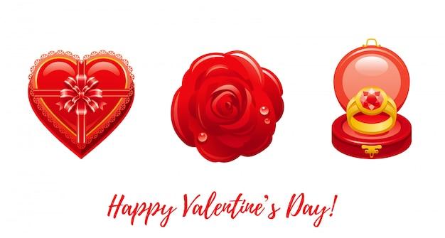Cartoon happy valentine's dag groeten met valentine pictogrammen - chocolade hart doos, rode roos, ring. Premium Vector