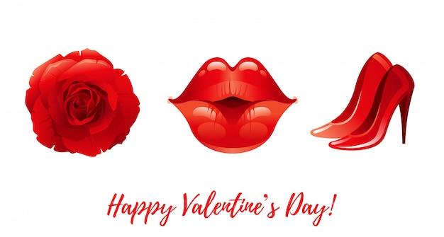 Cartoon happy valentine's dag groeten met valentine pictogrammen - roos, kussende lippen, hoge hakken. Premium Vector